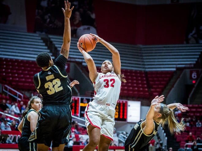 Ball State's Oshlynn Brown, shown here earlier this season against Purdue, scored 25 points Sunday in the win over Western Kentucky.