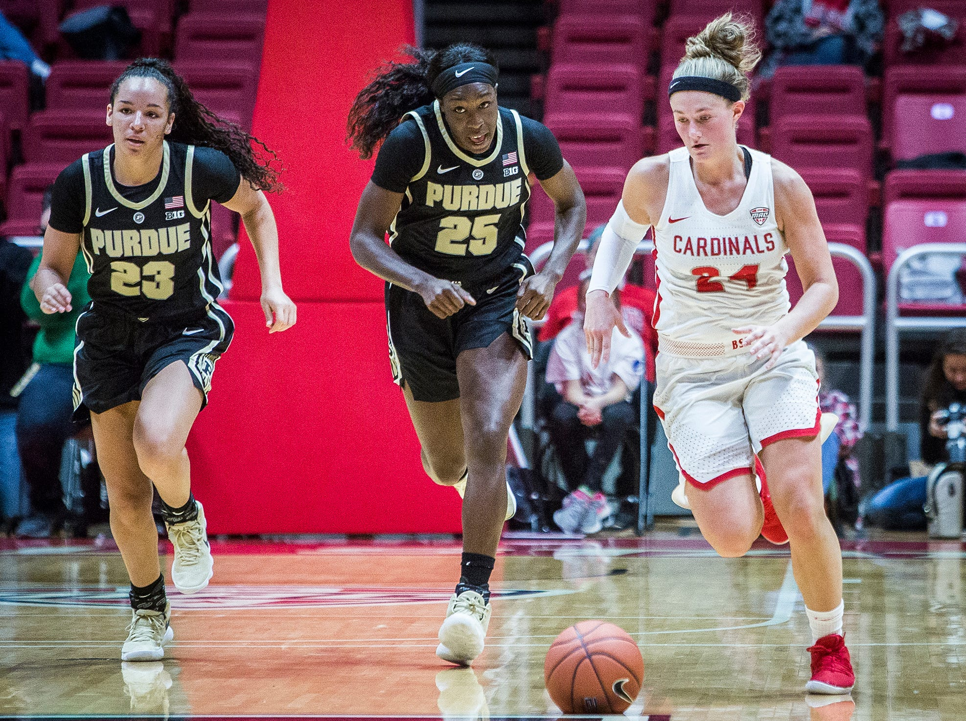 Ball State's Jasmin Samz moves the ball against Purdue's defense during their game at Worthen Arena Wednesday, Nov. 7, 2018.