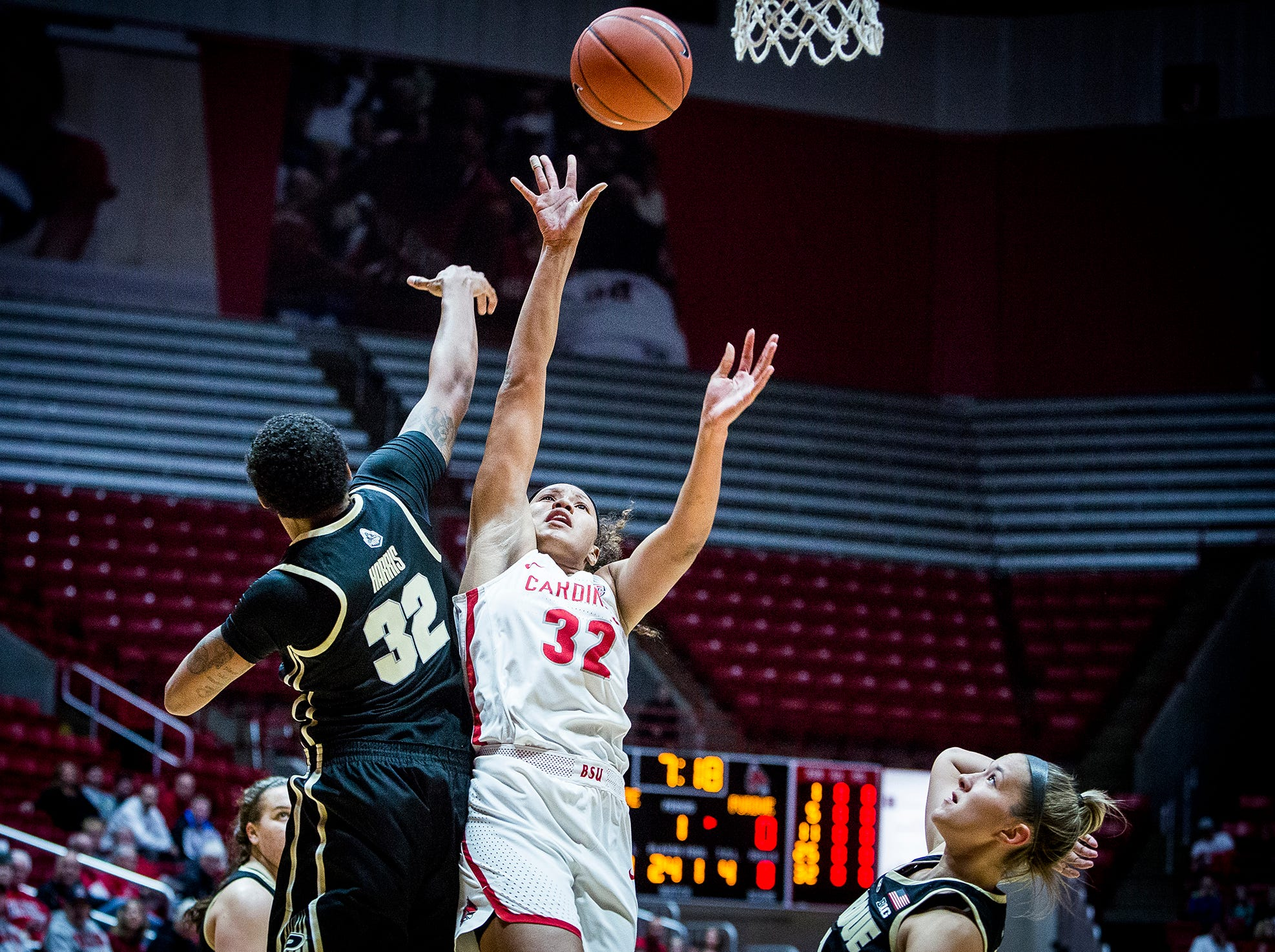 Ball State's Oshlynn Brown shoots past Purdue's defense during their game at Worthen Arena Wednesday, Nov. 7, 2018.