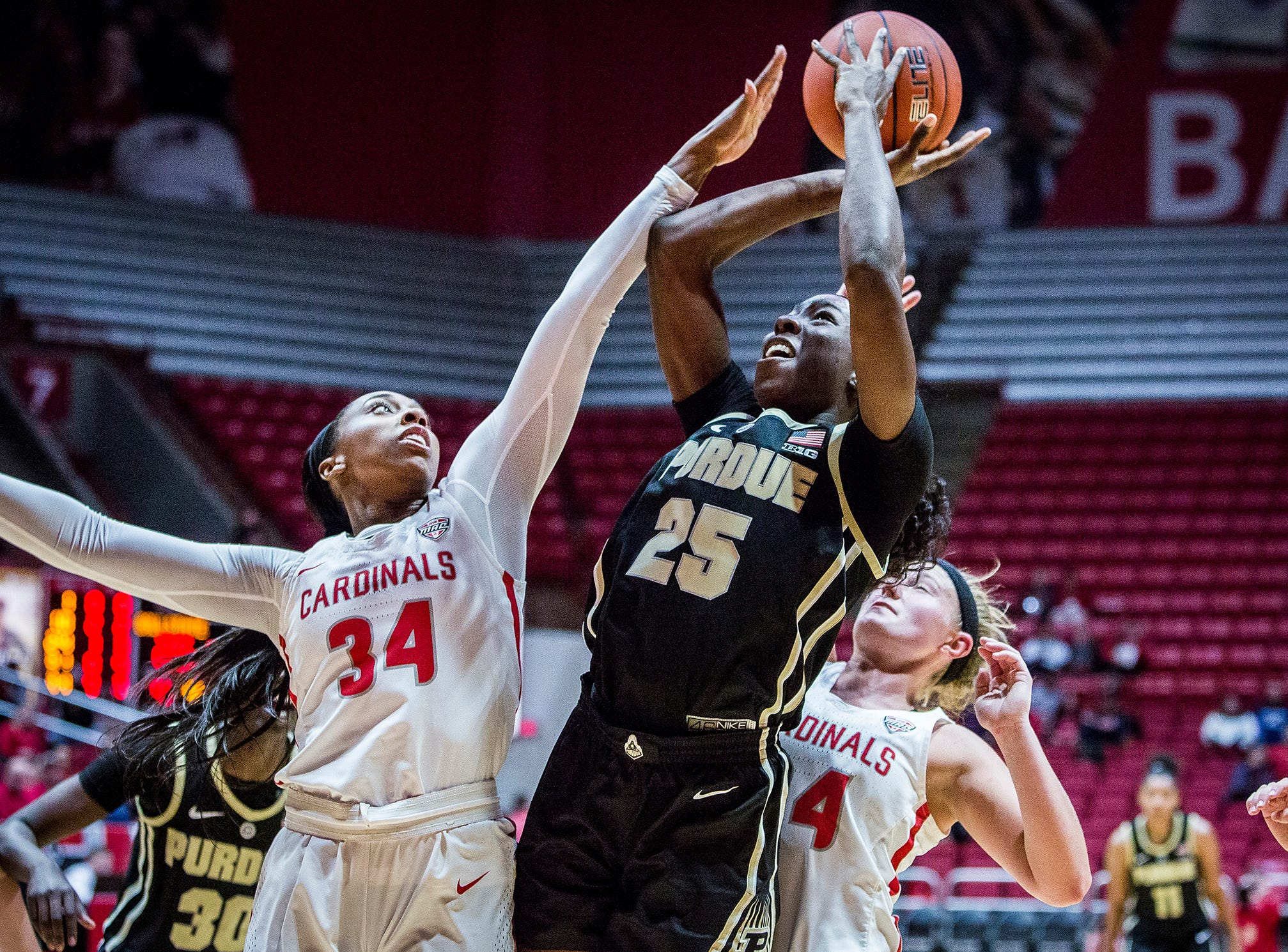 Purdue's Tamara Farquhar shoots past Ball State's defense during their game at Worthen Arena Wednesday, Nov. 7, 2018.