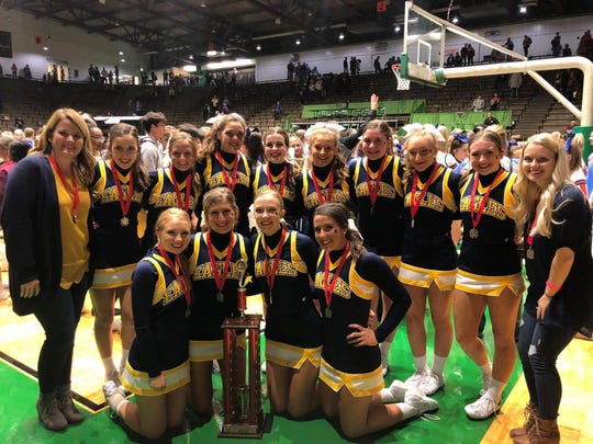 The Delta High School varsity cheer squad won first runner-up at state.