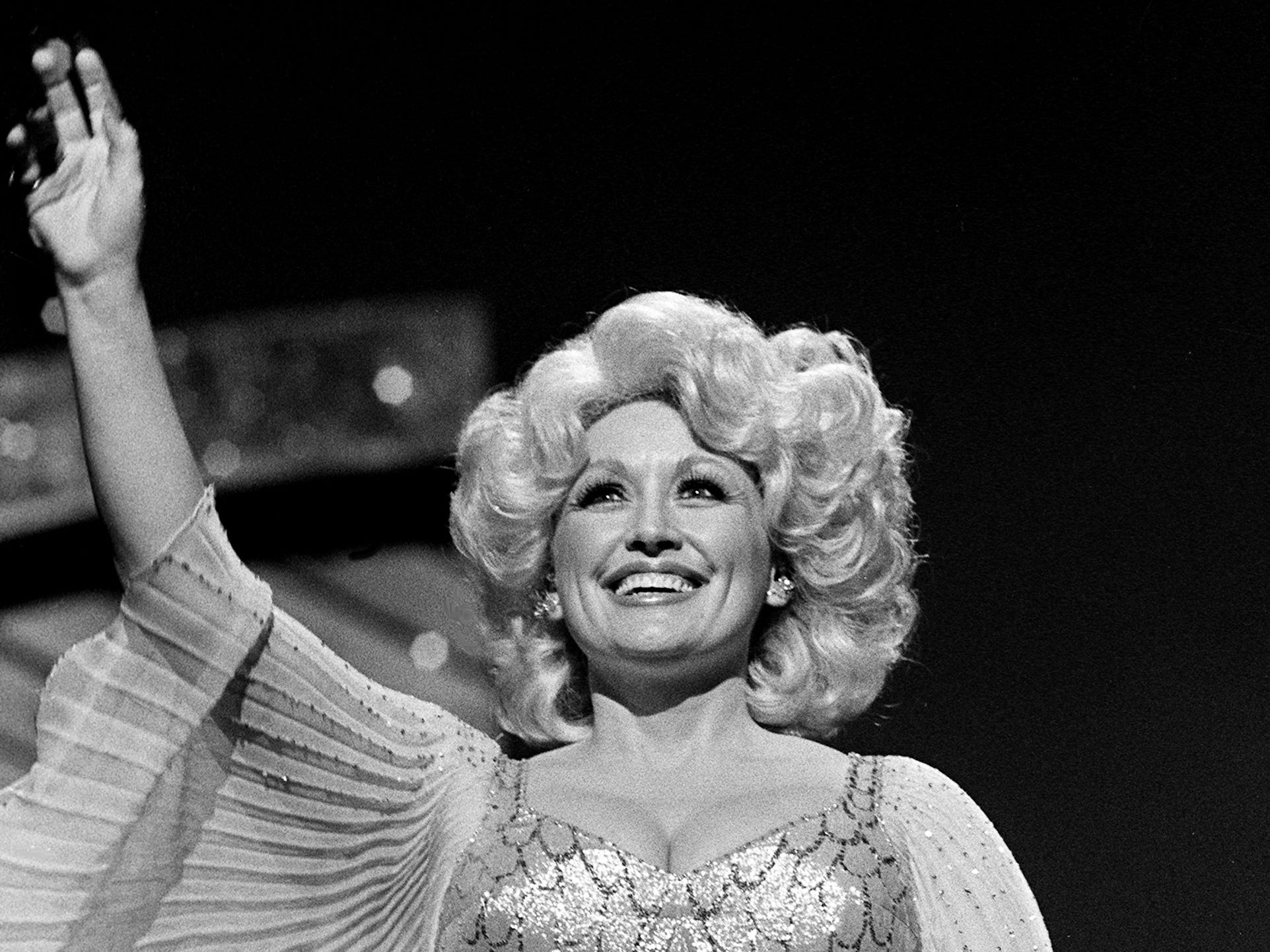 "Dolly Parton performs her current hit ""Heartbreaker"" during the 12th annual CMA Awards show at the Grand Ole Opry House on Oct. 9, 1978."