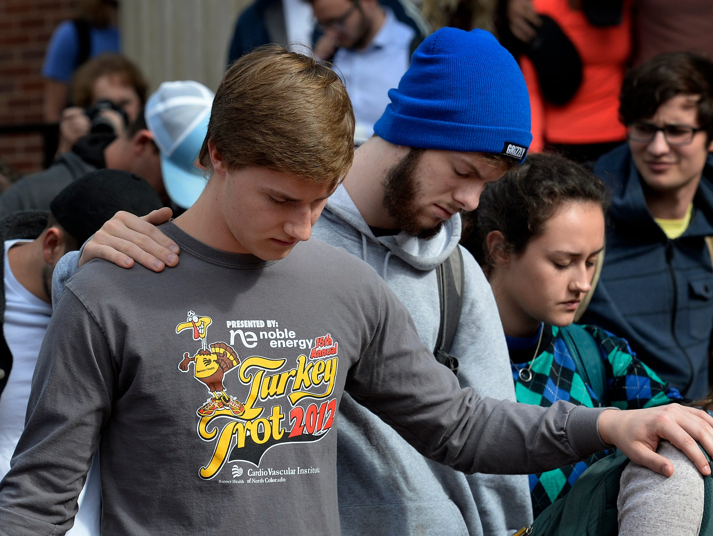 Students spend a moment in silence during a  prayer service at Lipscomb University on Thursday, Nov. 8, 2018, in Nashville, Tenn. The event honored the 12 victims of a mass shooting at a bar Wednesday night in Southern California. College students from Pepperdine University were in the bar at the time of the shooting. Both Pepperdine and Lipscomb are affiliated with the Church of Christ.