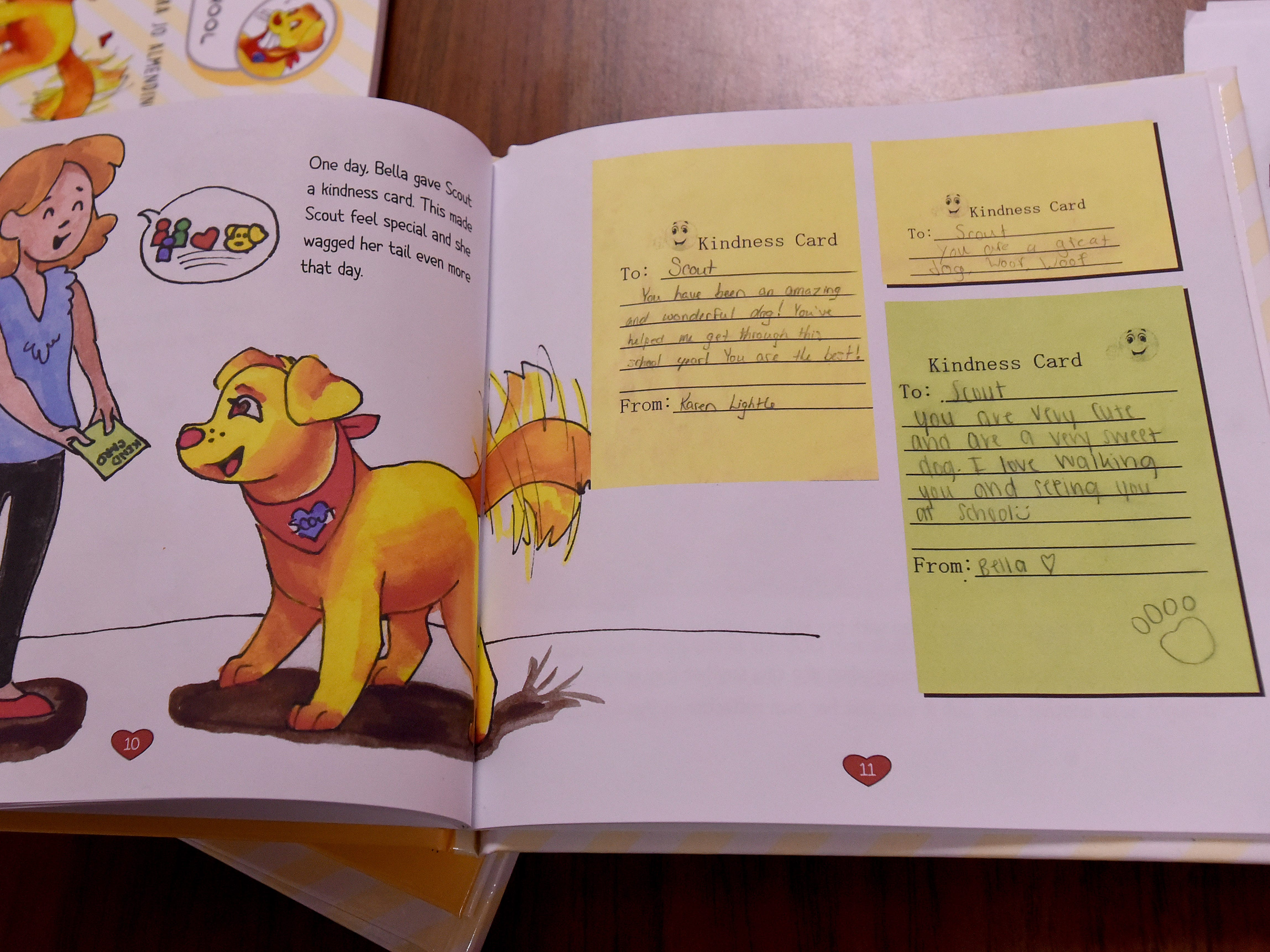 """A page of children's book """"Scout Goes to School"""" with notes from students of Utica Middle School language arts teacher and book author Barb Almendinger."""