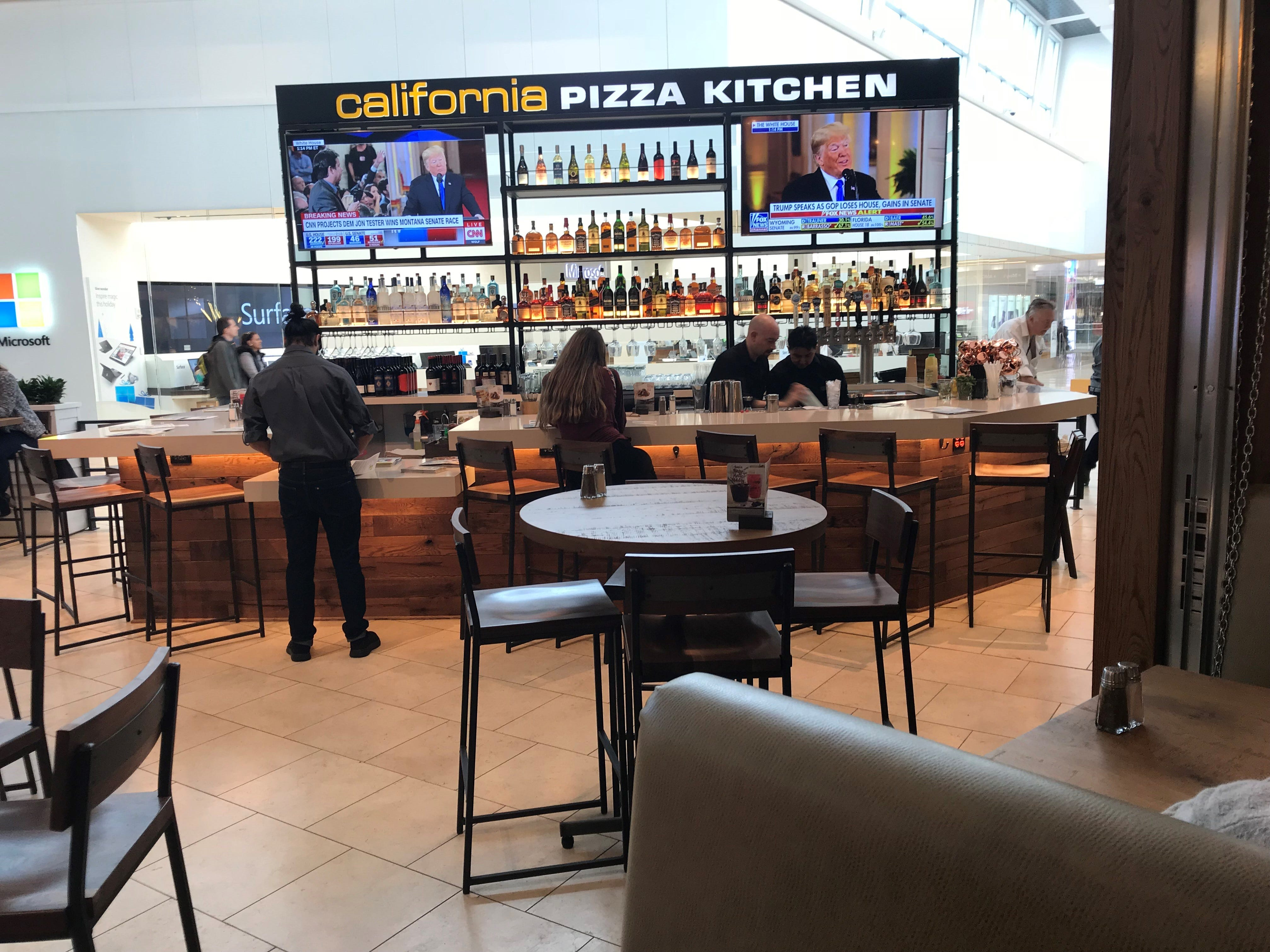 The bar area at the new California Pizza Kitchen