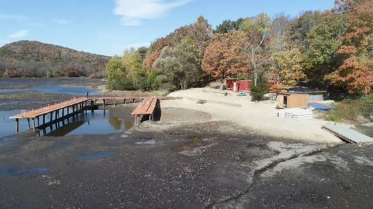 A late-2018 dam restoration project at Camp Vacamas in West Milford, N.J. should be completed in time for the 2019 season. A lowered water level exposes the shallow beach.