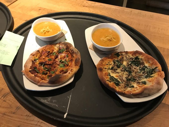 A lunch order at the new California Pizza Kitchen.