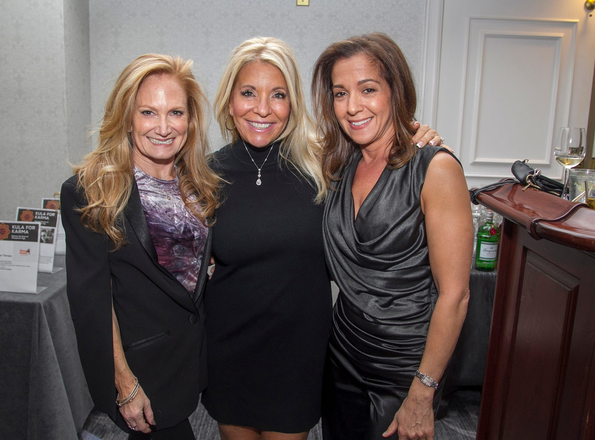 Stacy Lefkowitz, Susan Berman, Marcie Wald. Kula for Karma's 11th Anniversary gala at Pearl River Hilton. 11/05/2018