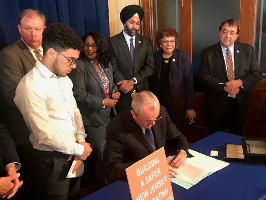 Gov. Phil Murphy signed a bill that criminalizes four types of firearms that are designed to evade detection and get around gun regulations during a ceremony in Trenton on Nov. 8, 2018.