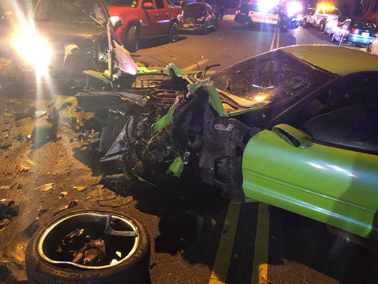 A Corvette was totaled after a crash in Paterson Nov. 7, 2018.