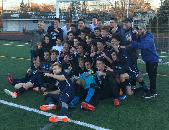 The Waldwick boys soccer team celebrates its North 1, Group 1 championship after topping Park Ridge, 2-0, in the sectional final on Thursday, Nov. 8, 2018.
