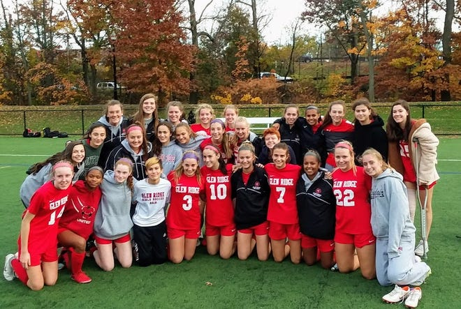 Glen Ridge girls soccer team after a state sectional semifinal win over Secaucus on Nov. 7.