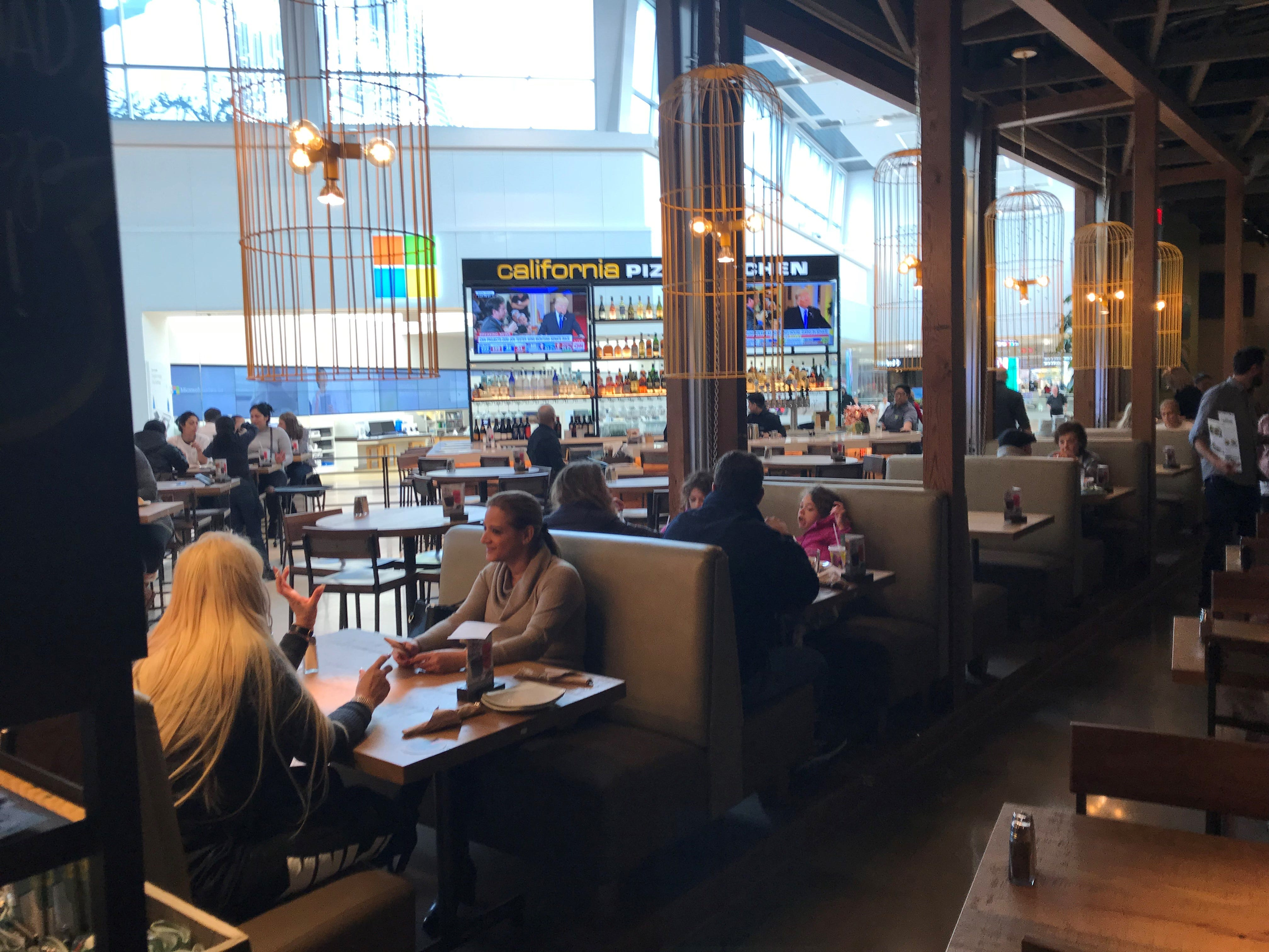 The new California Pizza Kitchen opens onto the mall common area.