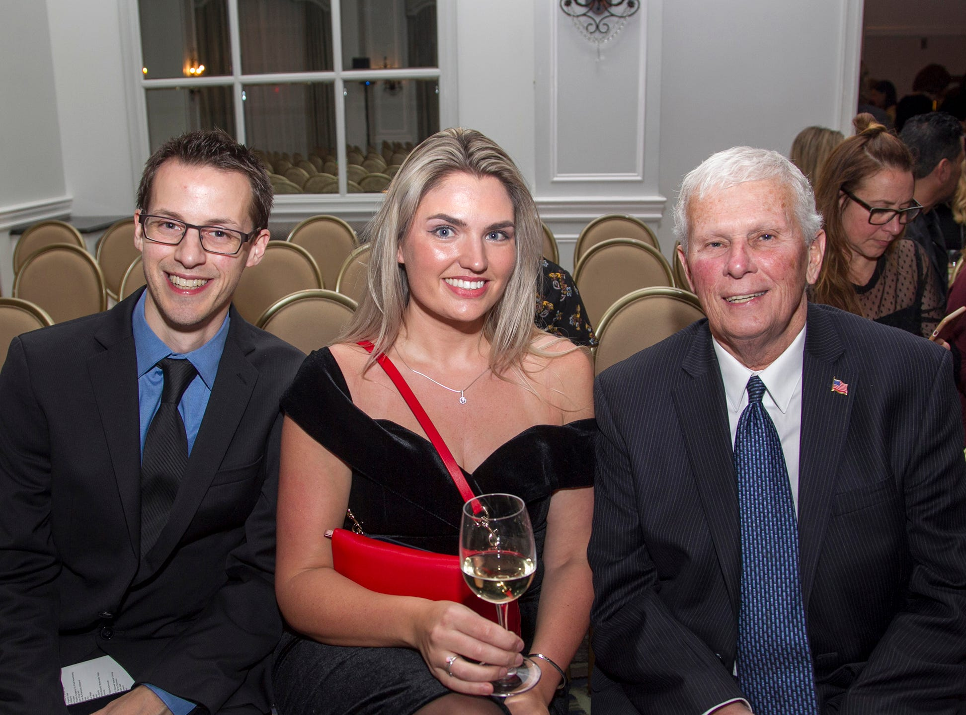 Phil Wilkens, Kathryn Delaney, Tom Fitzgerald. Kula for Karma's 11th Anniversary gala at Pearl River Hilton. 11/05/2018
