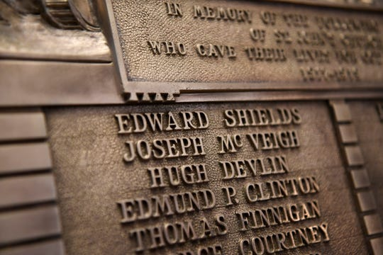 The names of the Paterson men lost in World War I is engraved on a plaque that sits in the Cathedral of St. John the Baptist.