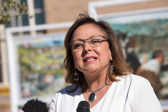 """Susana Martinez, governor of New Mexico, speaking in front of the """"Prado"""" art exhibit on the Plaza de Las Cruces, talks about the growth of tourism in the state Thursday November 8, 2018."""