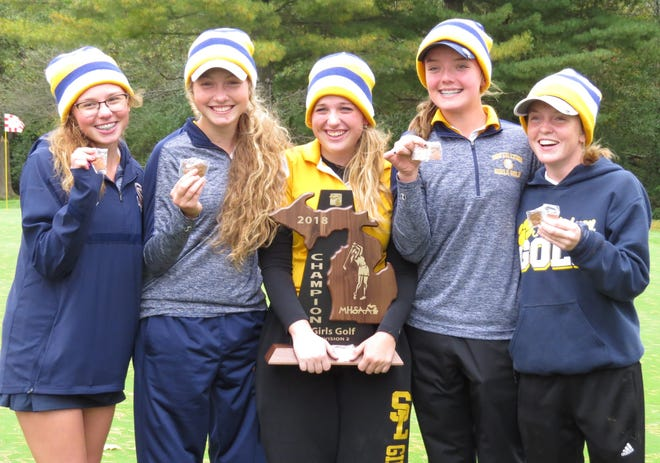 South Lyon's girls golf team had another strong season by winning the LVC championship and taking seventh at the recent state meet. The Lions' also won the Division 2 regional title behind the efforts of (left to right) Emma Mackey, Molly Mackey, Raya Sall, Katie Potter and Julia Vess.