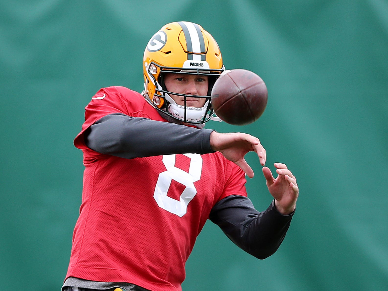 Green Bay Packers quarterback Tim Boyle (8) catches a pass during practice Thursday, November 8, 2018 at the Don Hutson Center in Ashwaubenon, Wis.