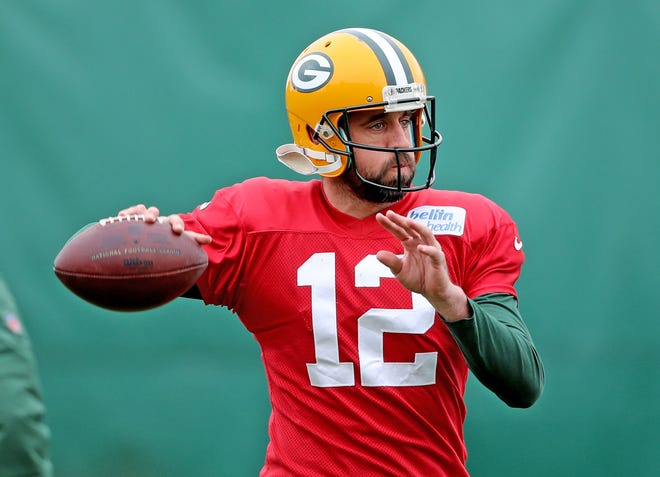 Green Bay Packers quarterback Aaron Rodgers (12) during practice Thursday, November 8, 2018 at the Don Hutson Center in Ashwaubenon, Wis.