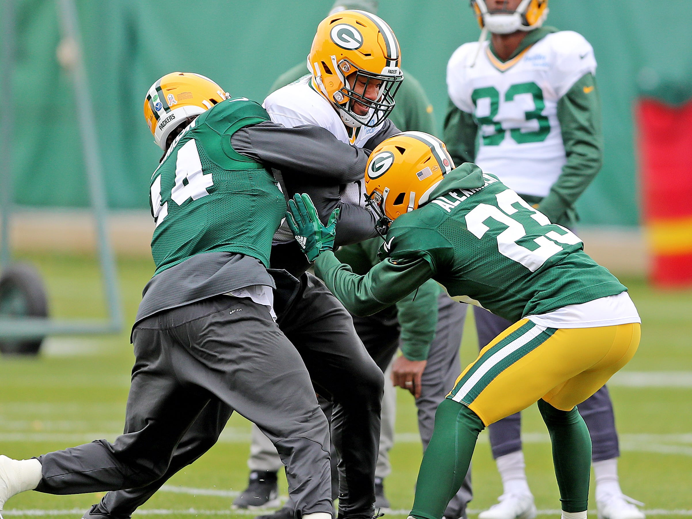 Green Bay Packers tight end Lance Kendricks (84) battles with inside linebacker Antonio Morrison (44) and cornerback Jaire Alexander (23) during practice Thursday, November 8, 2018 at the Don Hutson Center in Ashwaubenon, Wis.