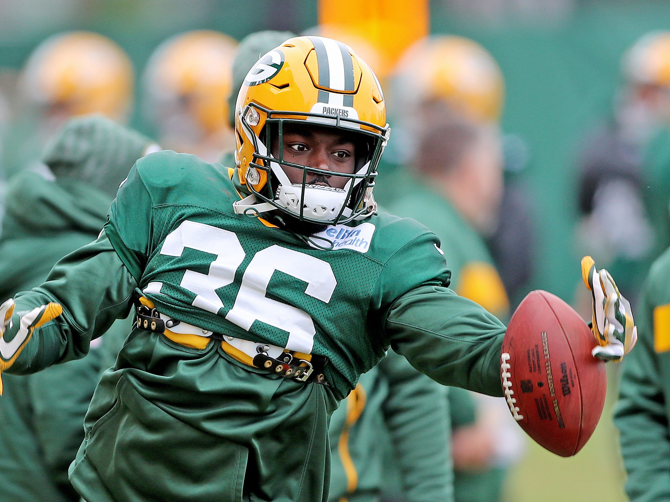 Green Bay Packers defensive back Raven Greene (36) during practice Thursday, November 8, 2018 at the Don Hutson Center in Ashwaubenon, Wis.