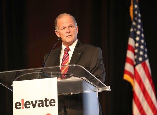 Dean Bresciani, President of North Dakota State University, speaks during the Greater Palm Springs Economic Summit, November 8, 2018