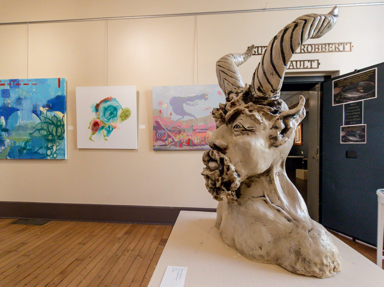 """Clay sculpture """"The Drunken Satyr"""" by James Amerson is one of over 100 pieces on display as part of the """"Cinco Banderas Collection"""" at the Artel Gallery on Tuesday, October 30, 2018. The exhibit, which runs through November 30, is celebrating its 30th anniversary this year."""