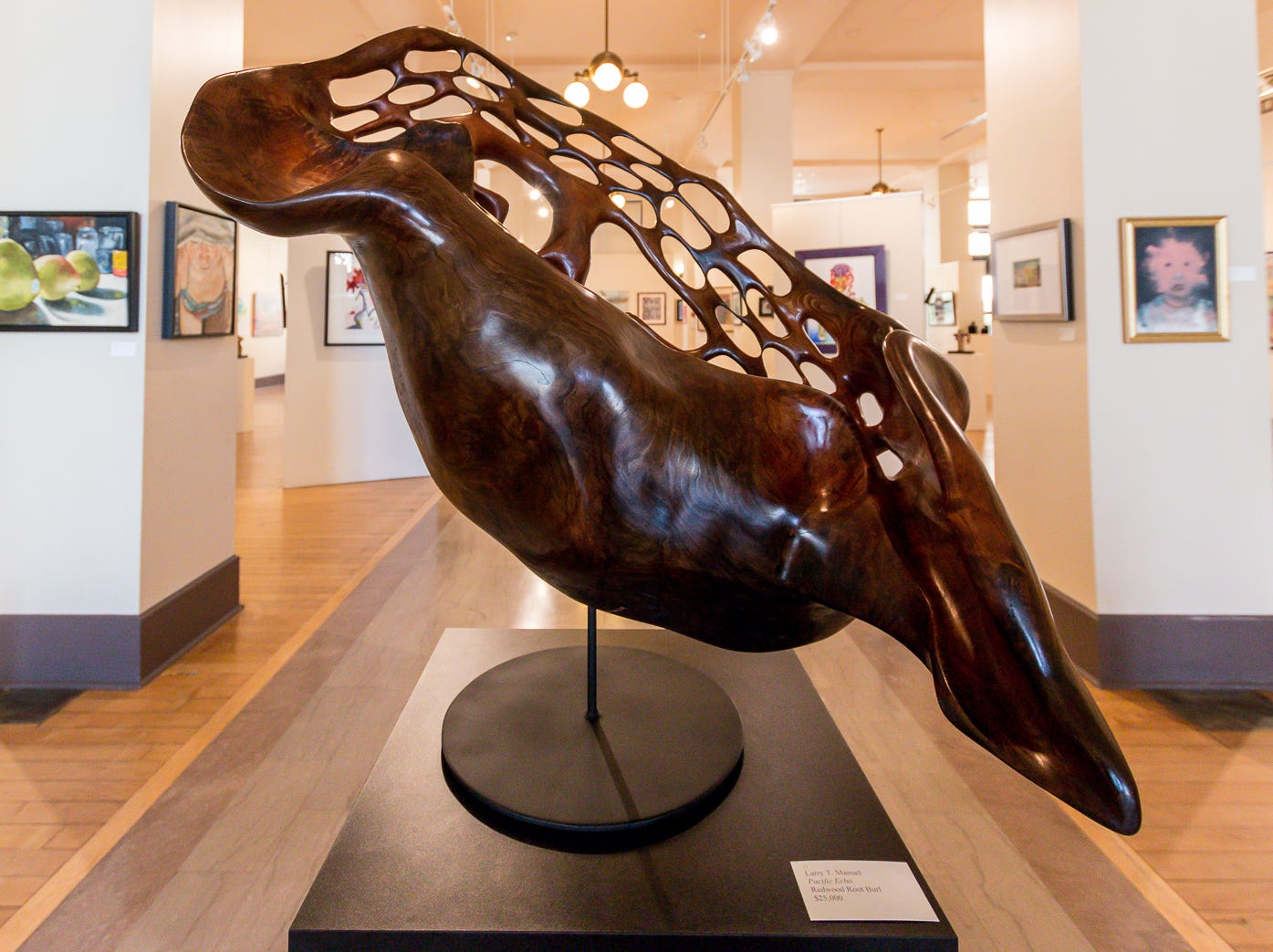 """Pacific Echo,"" a redwood root burl by Larry T. Manuel, is one of over 100 pieces on display as part of the ""Cinco Banderas Collection"" at the Artel Gallery on Tuesday, October 30, 2018. The exhibit, which runs through November 30, is celebrating its 30th anniversary this year."
