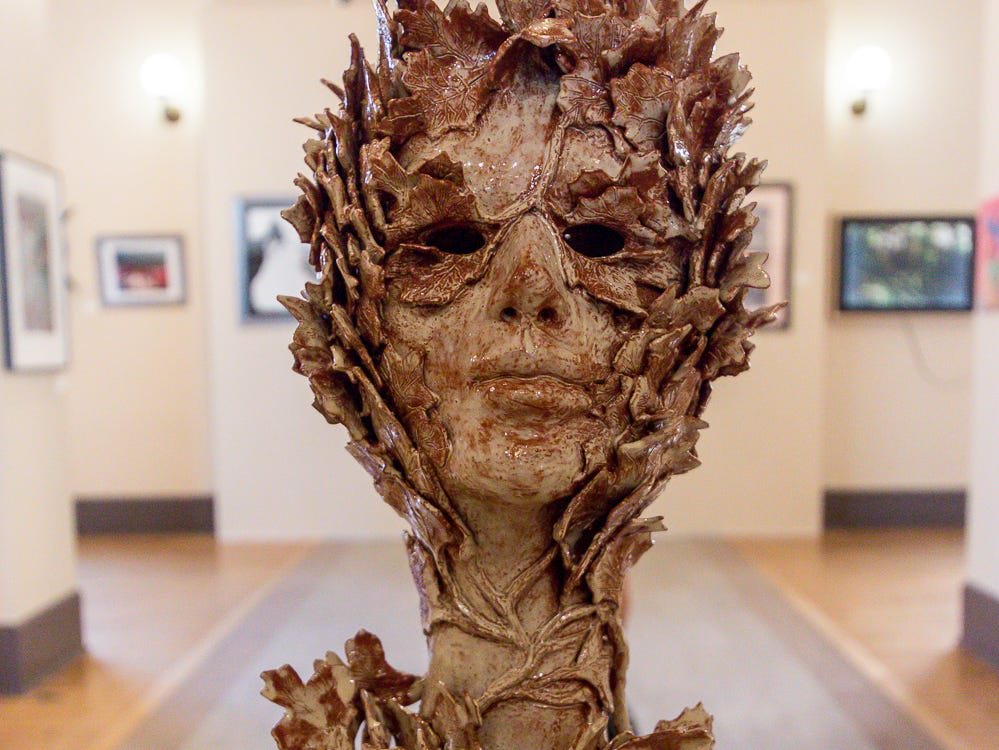 """Ceramic sculpture """"Leaf-Peep Show"""" by Robert Logan is one of over 100 pieces on display as part of the """"Cinco Banderas Collection"""" at the Artel Gallery on Tuesday, October 30, 2018. The exhibit, which runs through November 30, is celebrating its 30th anniversary this year."""