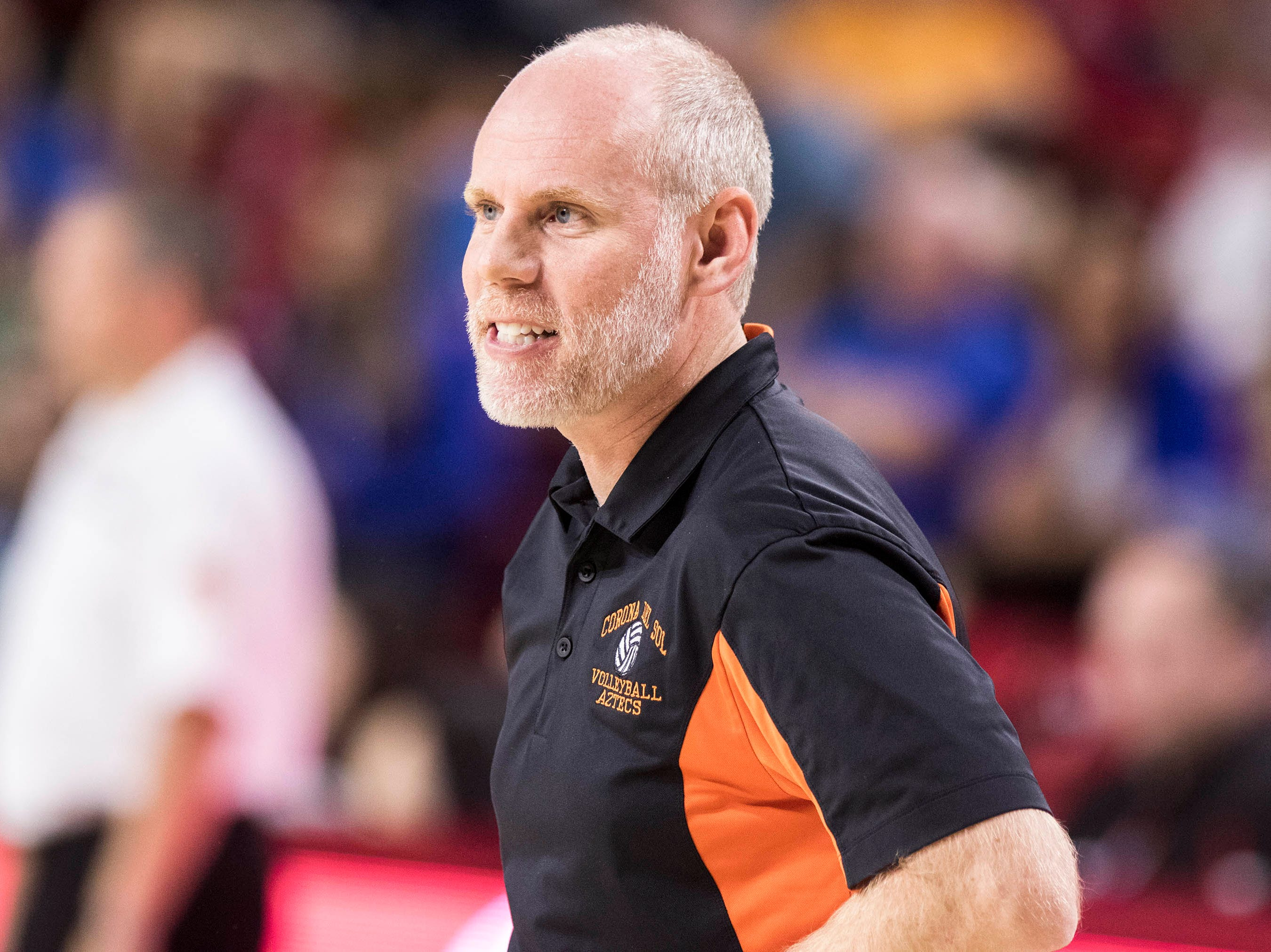 Corona del Sol coach Ben Maxfield as they play Xavier in the girls 6A volleyball state championship at Wells Fargo Arena in Tempe, Wednesday, Nov. 7, 2018.