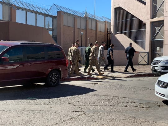 Top military brass, including the commander of the U.S. Army North, and local Customs and Border Protection officials on Nov. 7, 2018, tour the site where soldiers are stringing barbed wire along the U.S.-Mexico border fence in Nogales.