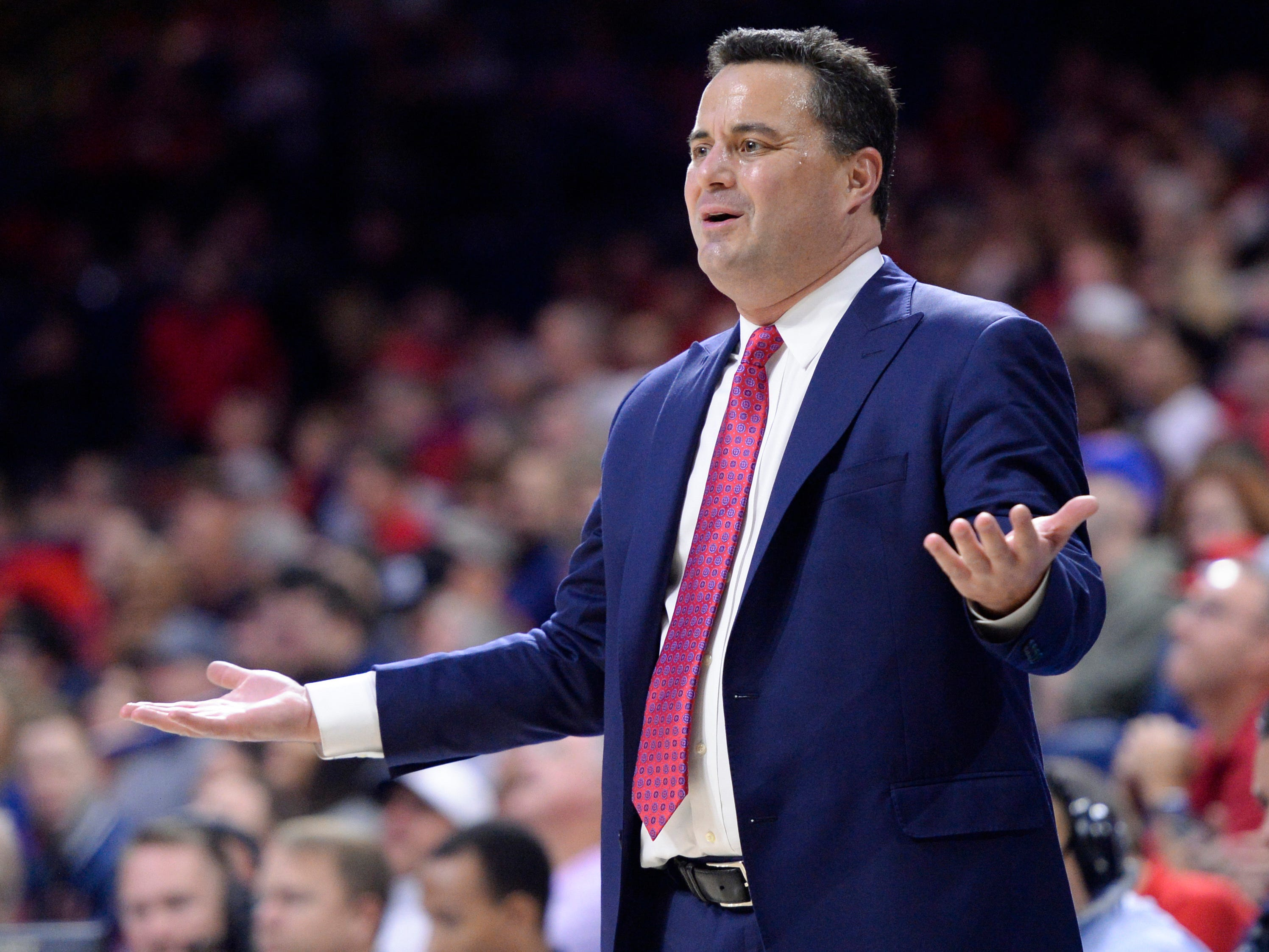 Nov 7, 2018; Tucson, AZ, USA; Arizona Wildcats head coach Sean Miller reacts to a call during the first half against the Houston Baptist Huskies at McKale Center. Mandatory Credit: Casey Sapio-USA TODAY Sports