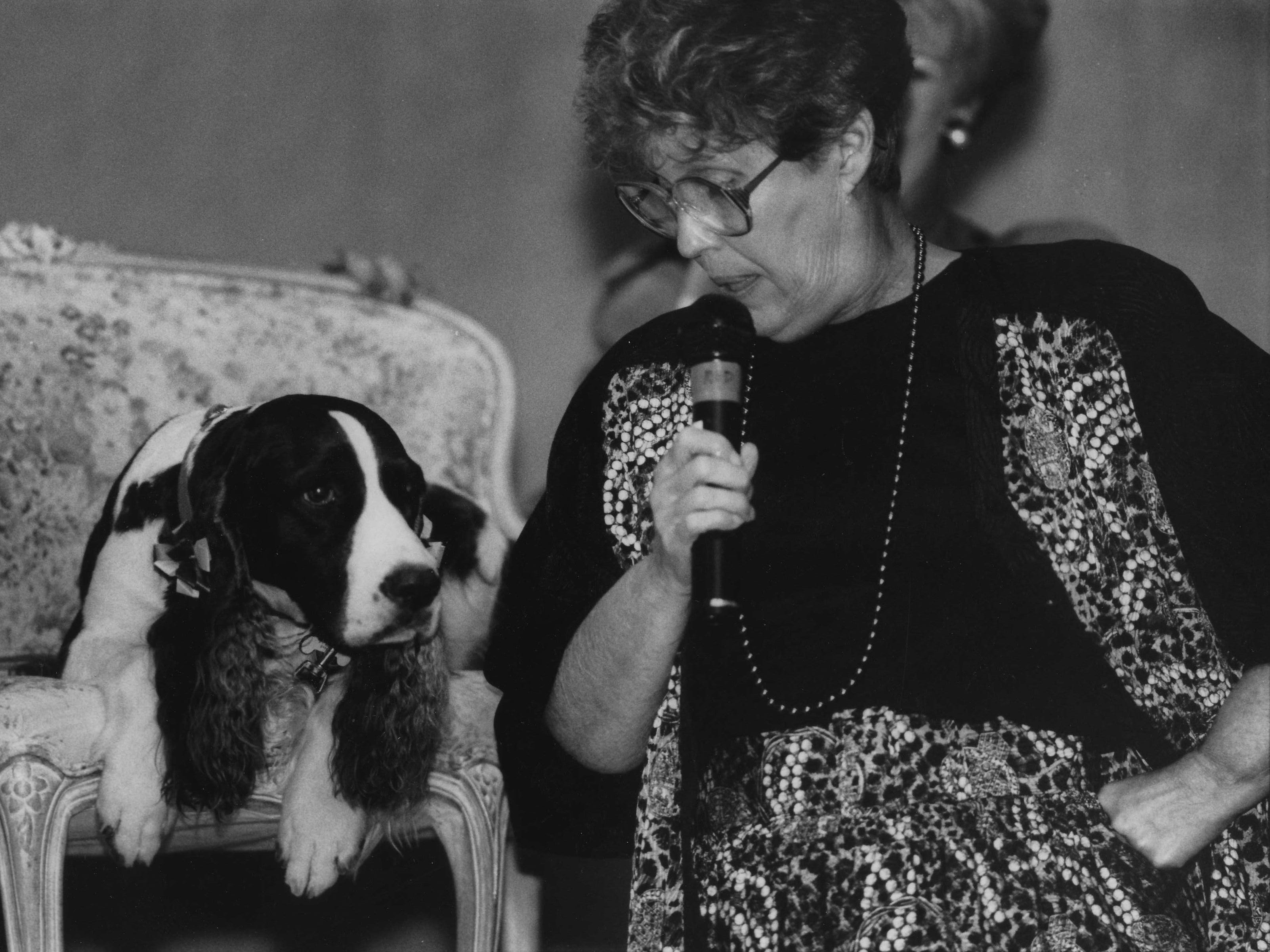 "Erma Bombeck ""interviews"" Millie, the dog of first lady Barbara Bush, in 1990 while the pet was on a book tour for ""Millie's Book."""