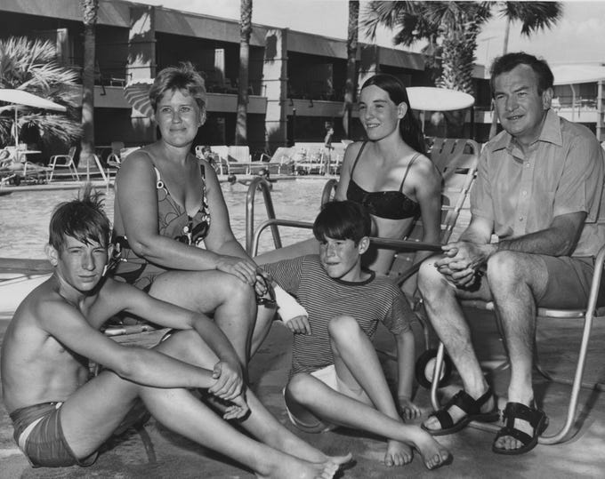 Erma Bombeck and her family lounge at the Safari Hotel in Scottsdale in this undated photo.