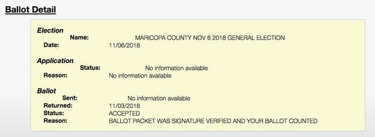 Screenshot of a ballot detail from the Maricopa County Recorder's website.