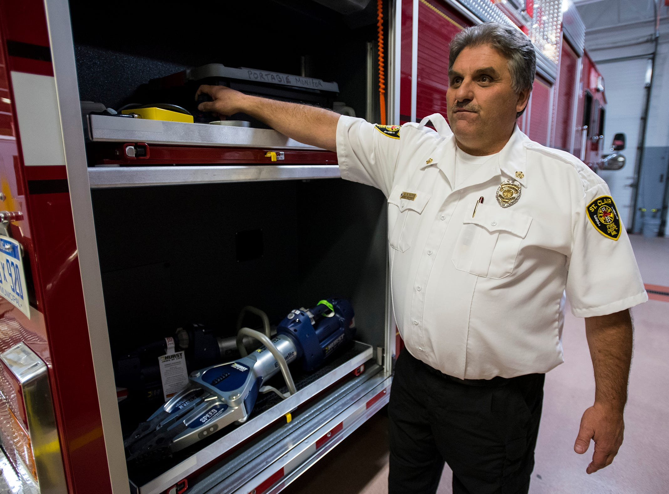 St. Clair Fire Authority Chief David Westrick talks about some of the new equipment stored on the department's new truck Wednesday, Nov. 7, 2018 at the St. Clair Fire Department.