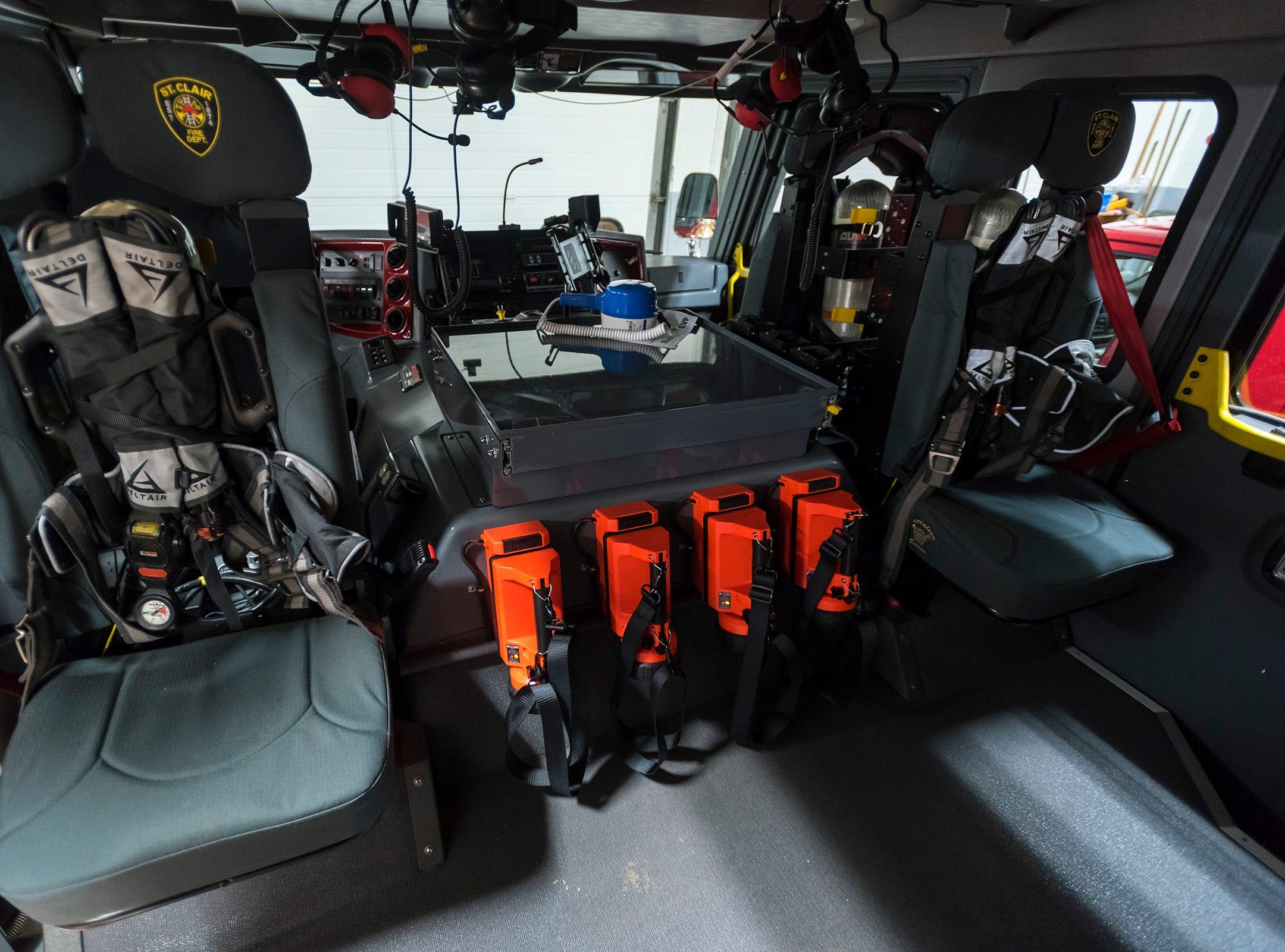 The interior cabin of St. Clair Fire Department's new Rosenbauer pumper truck.