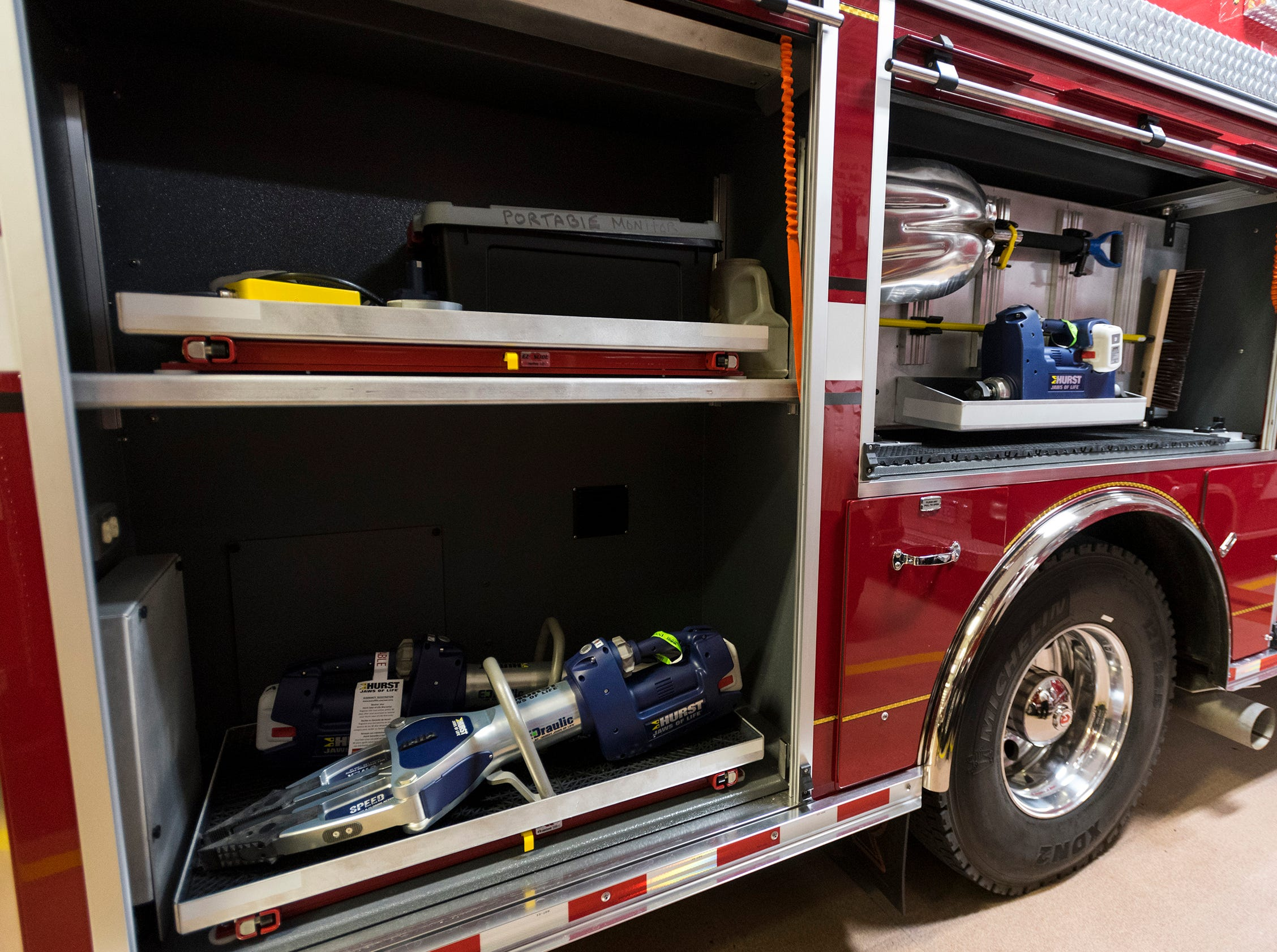 The St. Clair Fire Department's new truck is equipment with a complete new set of jaws of life, including spreaders, cutters and a new ram.