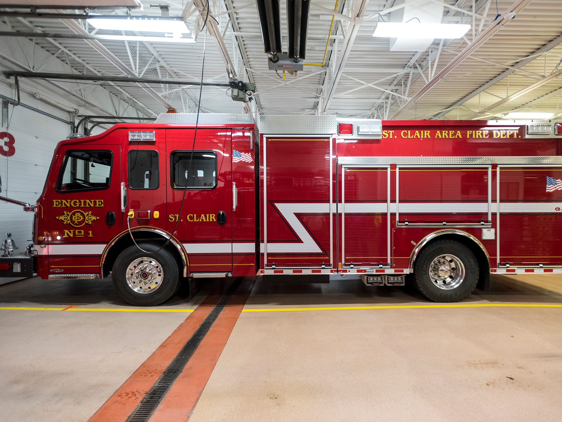 St. Clair Fire Department's new Rosenbauer pumper truck, pictured Wednesday, Nov. 7, 2018 at the department. The St. Clair Area Fire Authority began the design process for the truck about two years ago, and teh department took possession of it in September.
