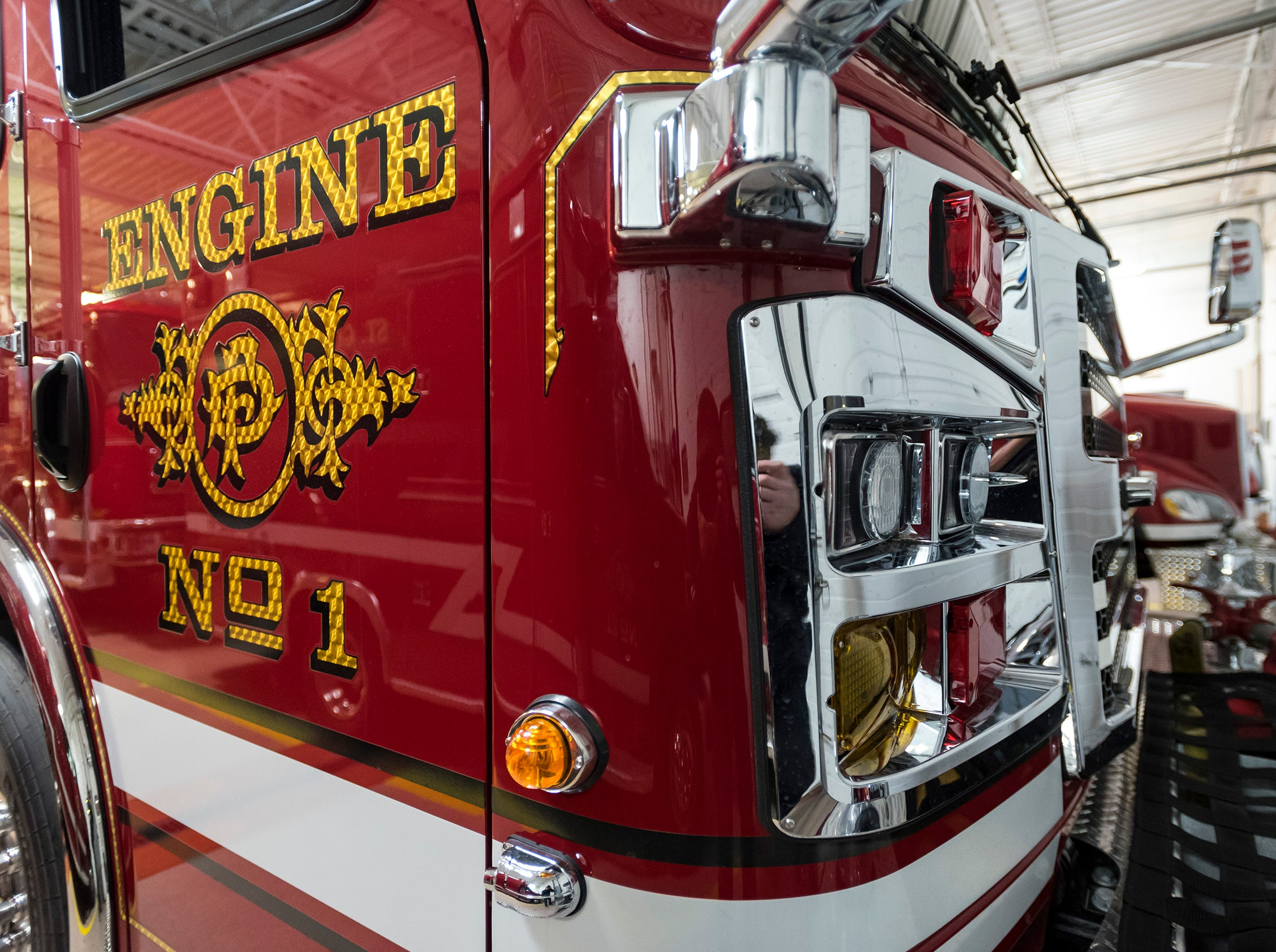 Signage and modern headlights on the front of St. Clair Fire Department's new truck. The St. Clair Fire Authority began the design process for the truck about two years ago, and took possession of it in September.