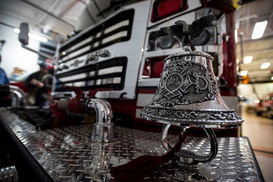 A bell is mounted on the front of the St. Clair Fire Department's new truck. According to St. Clair Area Fire Authority Chief David Westrick, the bell is mostly tradition. According to Westrick, when responding to a call trucks would use sirens, and on the trip back to the station, once the fire was out and everyone was safe, the bell would be used.