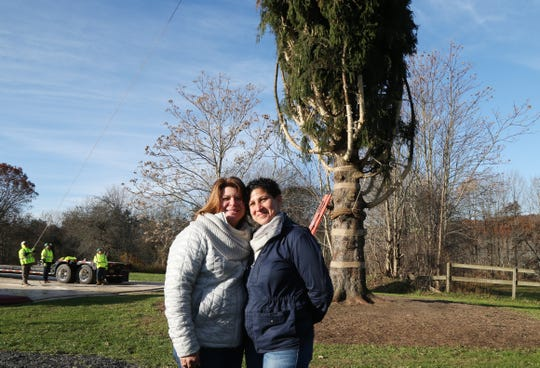 From left, Lissette Gutierrez and Shirley Figueroa pose in front of the Norway Spruce tree on their property in Wallkill  that is being cut down for the 2018 Rockefeller Center Christmas Tree on November 8, 2018.