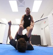 Mixed Martial Arts fighter Lindsey VanZandt spars with Jack Frustace at Precision Boxing & MMA in the Town of Poughkeepsie on November 7, 2018.