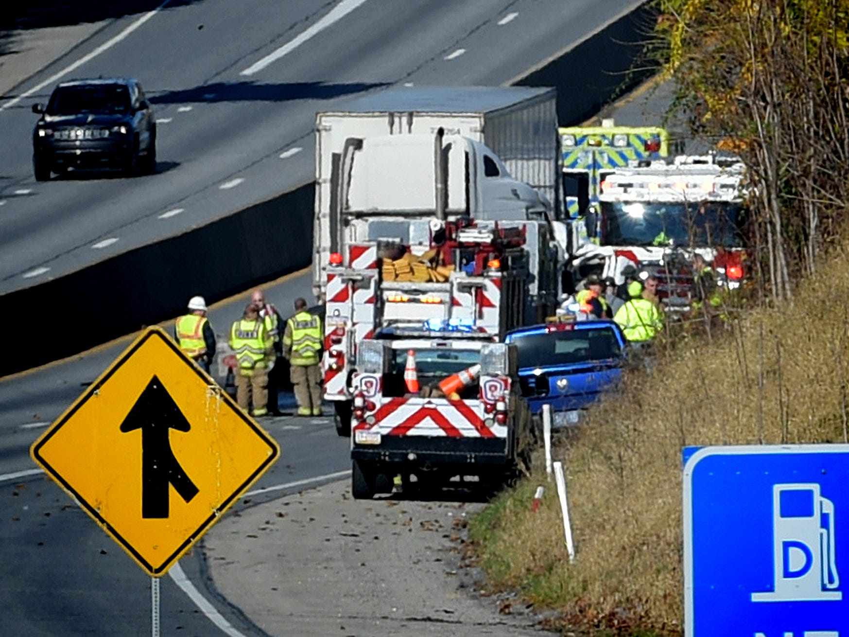 Northbound I-83 is closed at Exit 33, Yocumtown, after a fatal accident occurred on northbound I-83, south of Exit 34, Valley Green, Thursday, Nov. 8, 2018. The interstate was closed for several hours after the crash which occurred just before 9 a.m. Bill Kalina photo