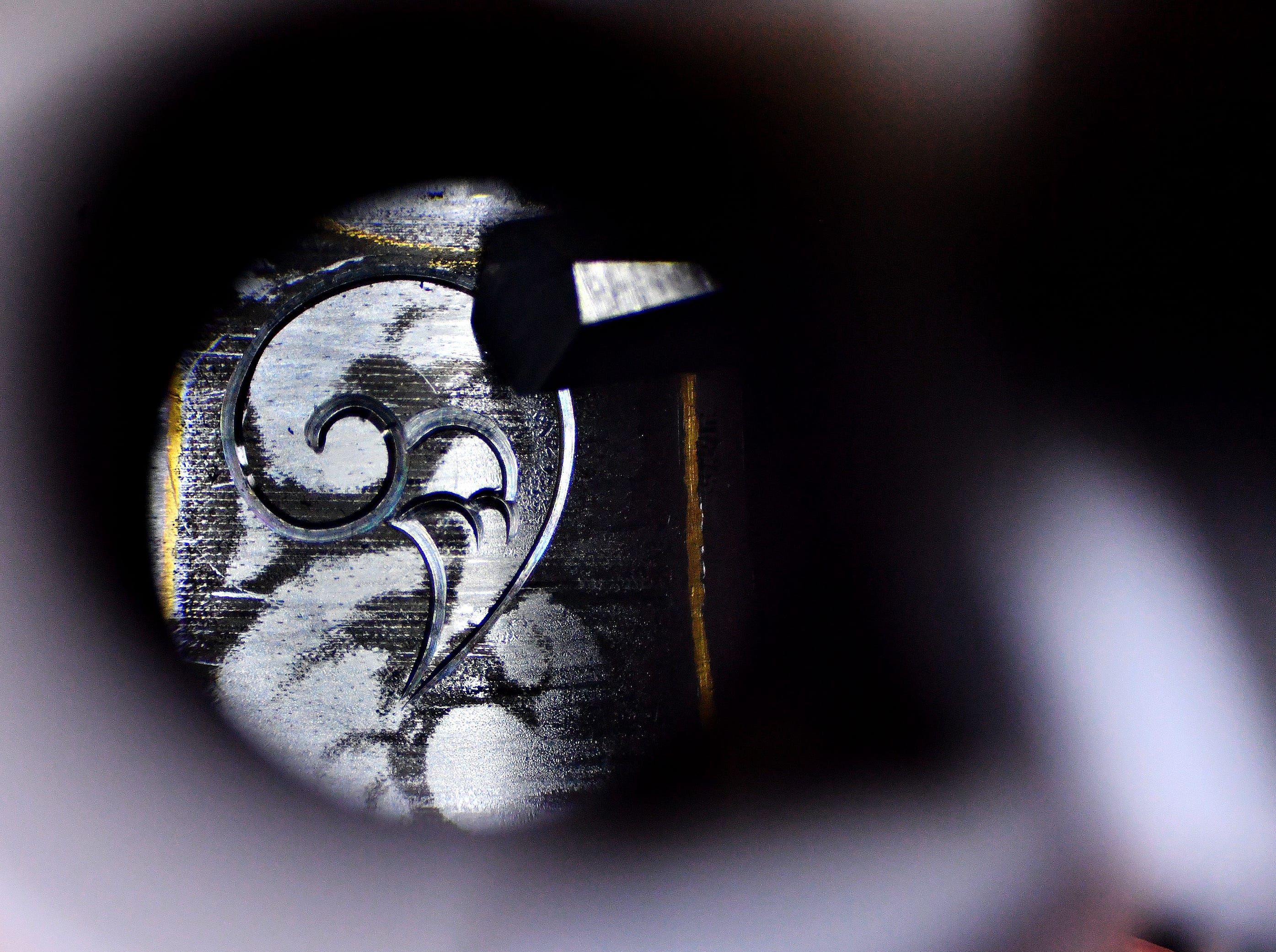 Engraver Michael Crumling shares the view of his current project through the eye piece of his stereo microscope in his office at his home in Wrightsville, Thursday, Nov. 8, 2018. Dawn J. Sagert photo