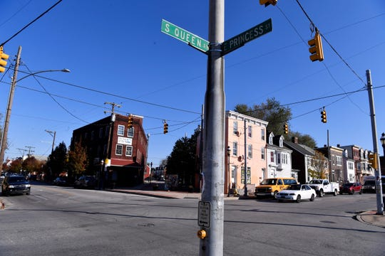 A York County sheriff's deputy was struck by a hit-and-run car at the intersection of South Queen and East Princess streets on Nov. 7, 2018, York City Police said. (John A. Pavoncello photo)