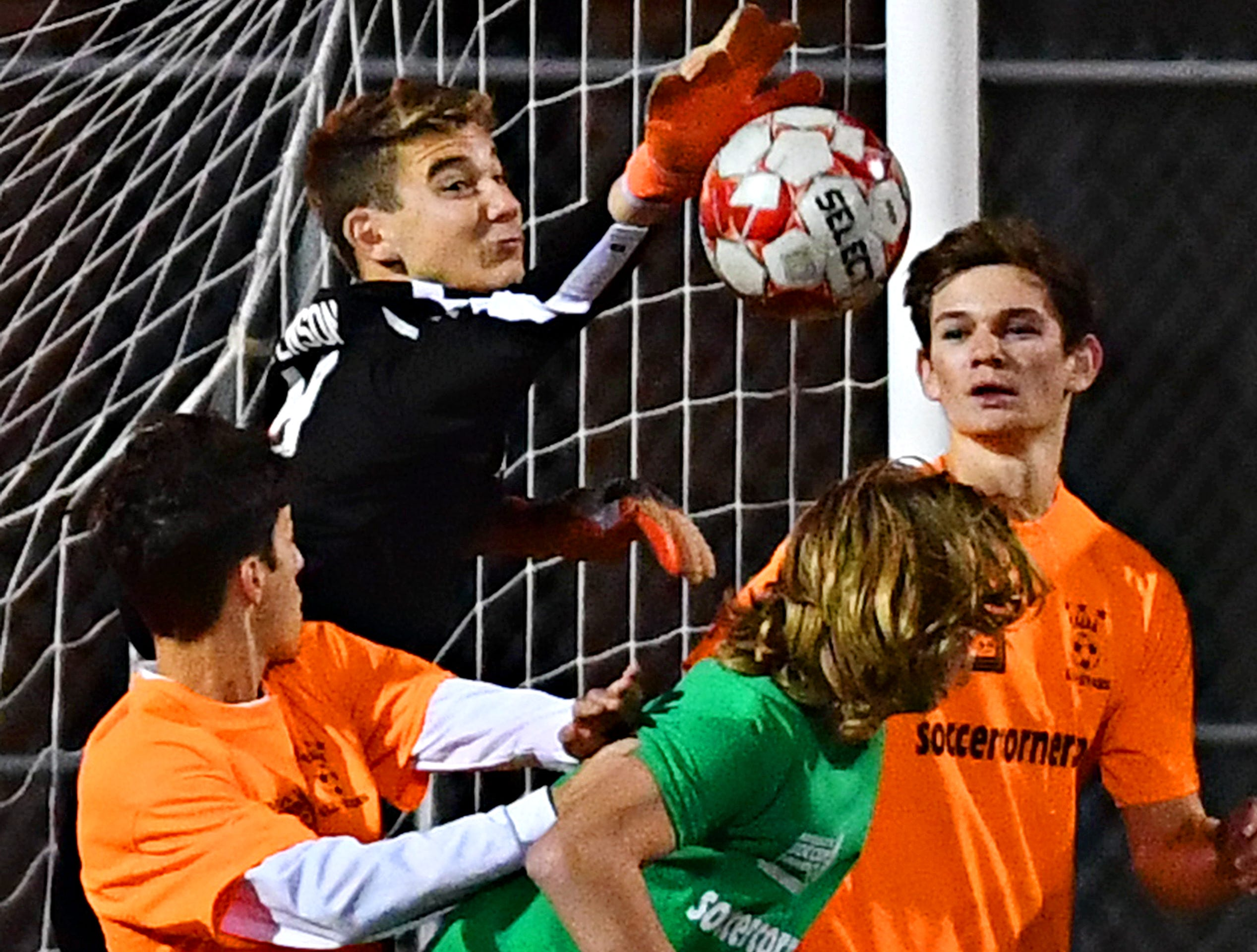 Athletes compete during the YAIAA Boys' Soccer Senior All Star Game action at Horn Field in Red Lion, Wednesday, Nov. 7, 2018. Dawn J. Sagert photo