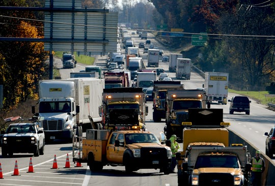 Traffic exits I-83 at Exit 33, Yocumtown, after a fatal accident occurred on northbound I-83, south of Exit 34, Valley Green, Thursday, Nov. 8, 2018. Northbound lanes of the interstate were closed for several hours after the crash which occurred just before 9 a.m. Bill Kalina photo