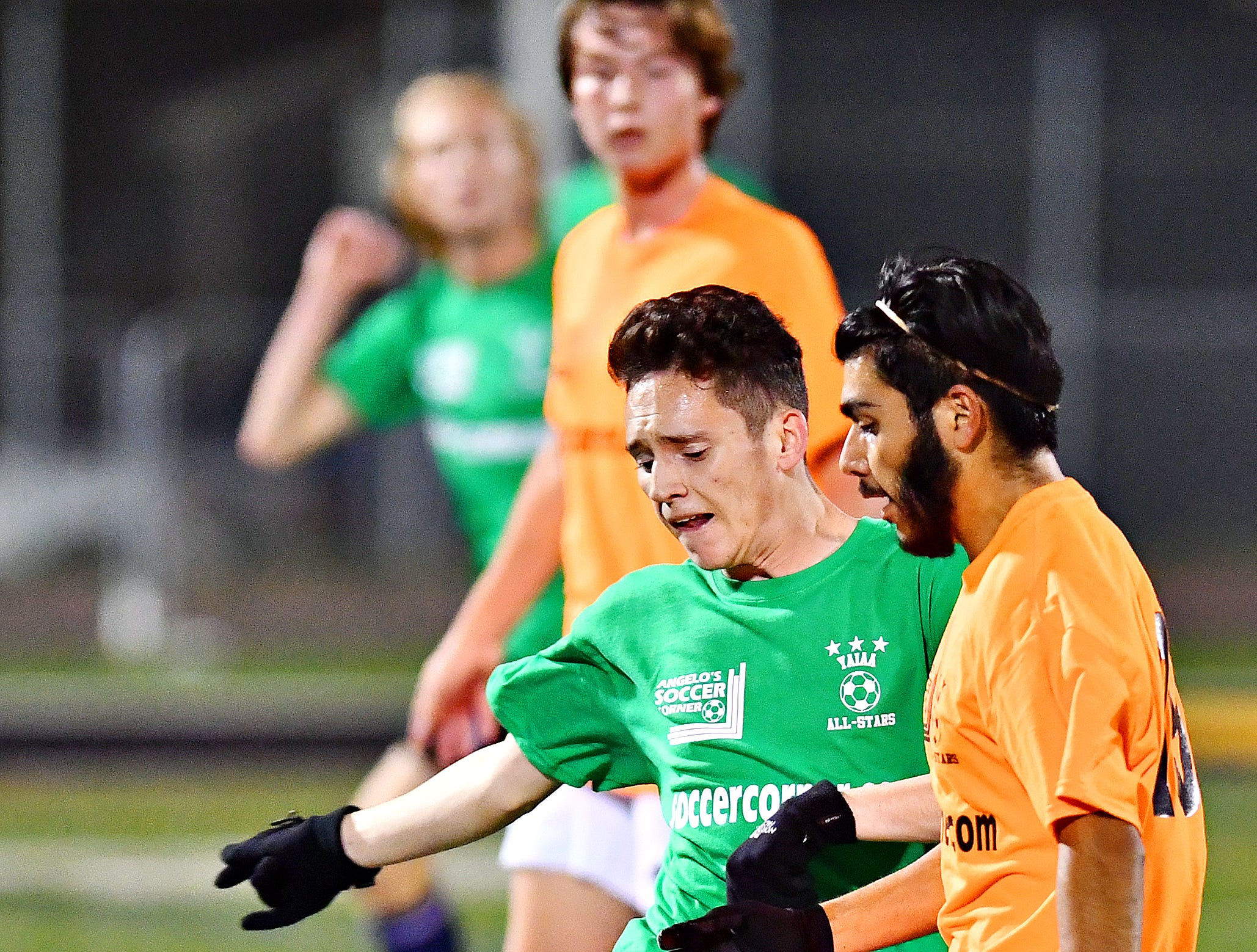 Fairfield's Patrick Pruy, left, and Biglerville's Jorge Acevado compete for control of the ball during YAIAA Boys' Soccer Senior All Star Game action at Horn Field in Red Lion, Wednesday, Nov. 7, 2018. Dawn J. Sagert photo