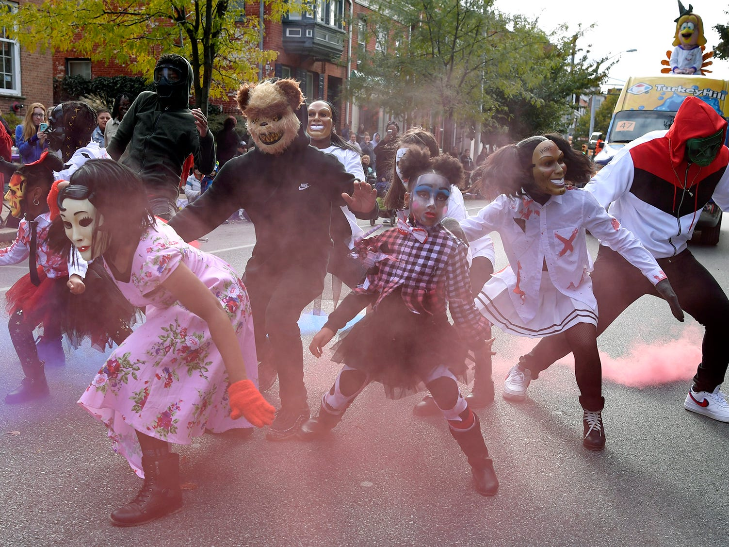 Performers with Kat Choreography, LLC perform during the York Halloween Parade, Sunday, October 28, 2018. 